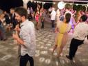 La terrazza del castello trasformata in discoteca per l'occasione